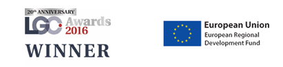 LGC Awards 2016 Winner and European Union European Regional Development Fund 2007-13 logos