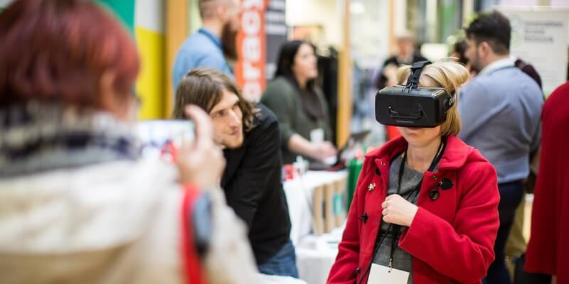 business woman using a vr headset