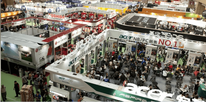 Ariel view of a technology marketplace/convention, LG, acer, Sony, Toshiba, hp