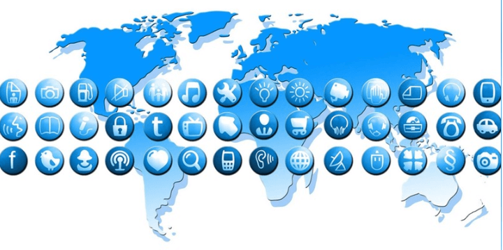Blue icons over the top of a world map