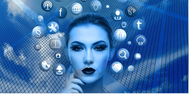 Blue icons around a woman's head