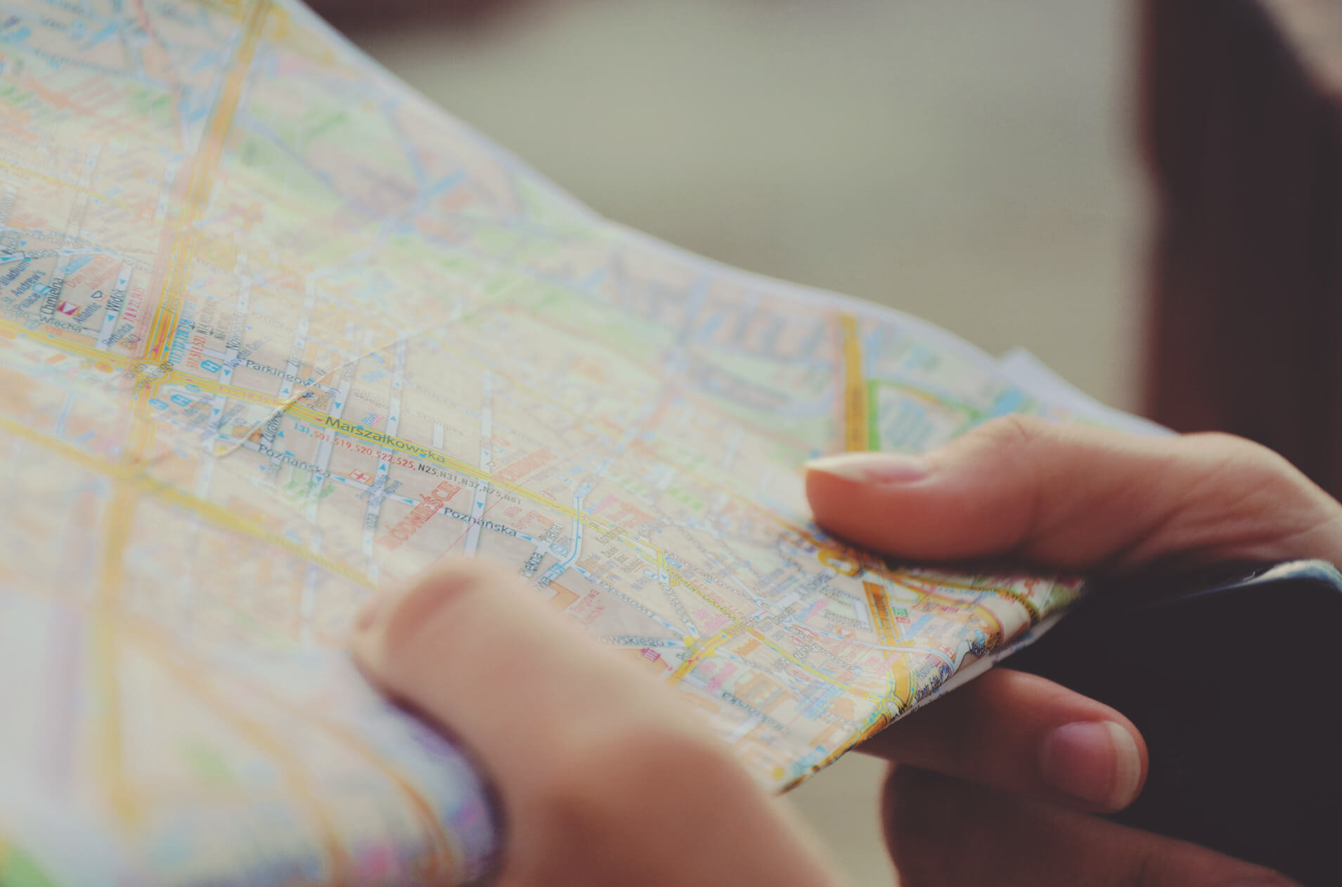 Close up of person holding map