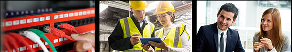 Three panel image; server with ethernet cables being plugged in, man and woman in high visibility clothing and hard hats looking at tablet, man and woman in business attire