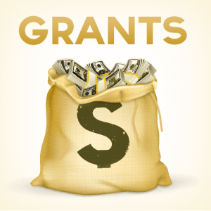The word Grants above bag of money