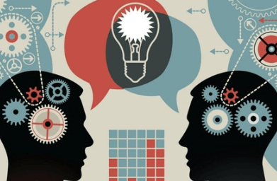 Graphic of two head silhouettes with cogs turning and speech bubbles with light bulb